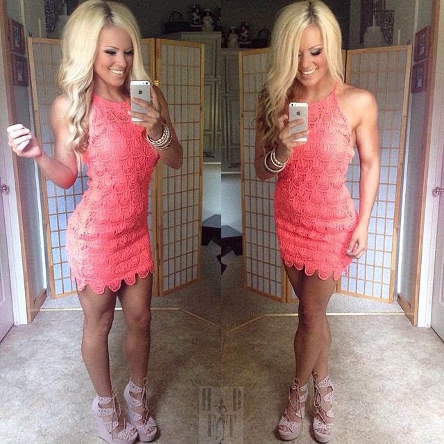a4cdf2d4aa8e Coral Crochet Mini Dress | Home of Jen Heward aka HunnyBunsFit.