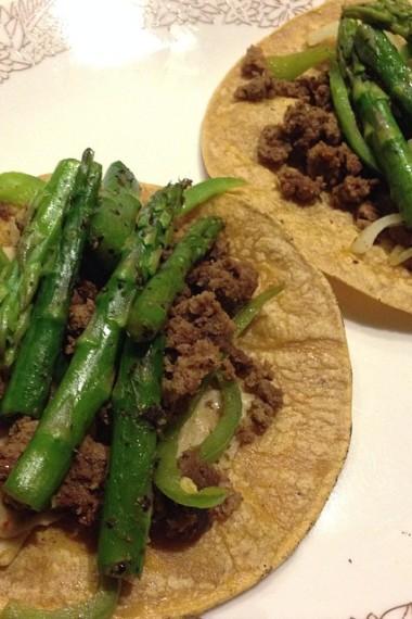 bison aspargus tacos